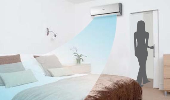 ECONAVI распознает отсутствие людей в комнате и сокращает уровень охлаждения, если комната пуста.