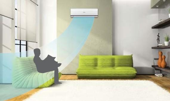 ECONAVI определяет активность передвижения людей в помещении и  сокращает ненужное  охлаждение в тех участках, где никого нет.